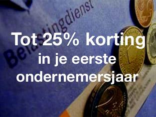 25 procent korting starters eerste jaar
